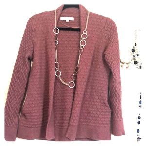 Mauve cardigan with pockets